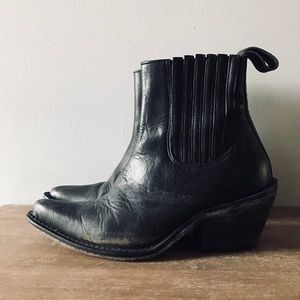 Ecote for Free People Black Leather Slip on Boot